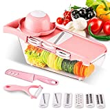 BorlterClamp Vegetable Slicer All-Purpose Food Chopper with Grater Box, Vegetable Shred - Onion/Potato/Carrot/Cucumber Slicer Kitchen Cooking Tool (Pink)