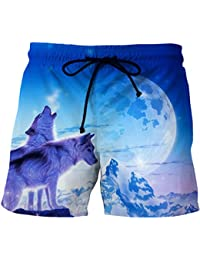 36d966a4ec Men's Wolf 3D Moisture wicking Beach Board Shorts Summer Swim Trunks For  Boy,Short Pants With Drawstring For Swimming Running