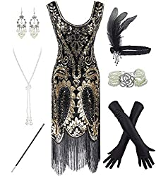 Black & Gold 1920s Fringe Beaded Dress with Costume Set