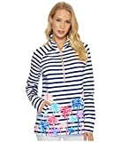 Lilly Pulitzer Women's Upf 50+ Skipper Popover, Resort White Desert Palm Stripe Engineered Skipper, XL