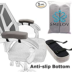Chair Armrest Pads and and Ergonomic Arm Rest Cover with Anti-slip Bottom,Mouse Wrist Pad,Memory Foam Elbow Pillow Support,Universal Fit for Home or Office Chair,Grey,2 Piece Set