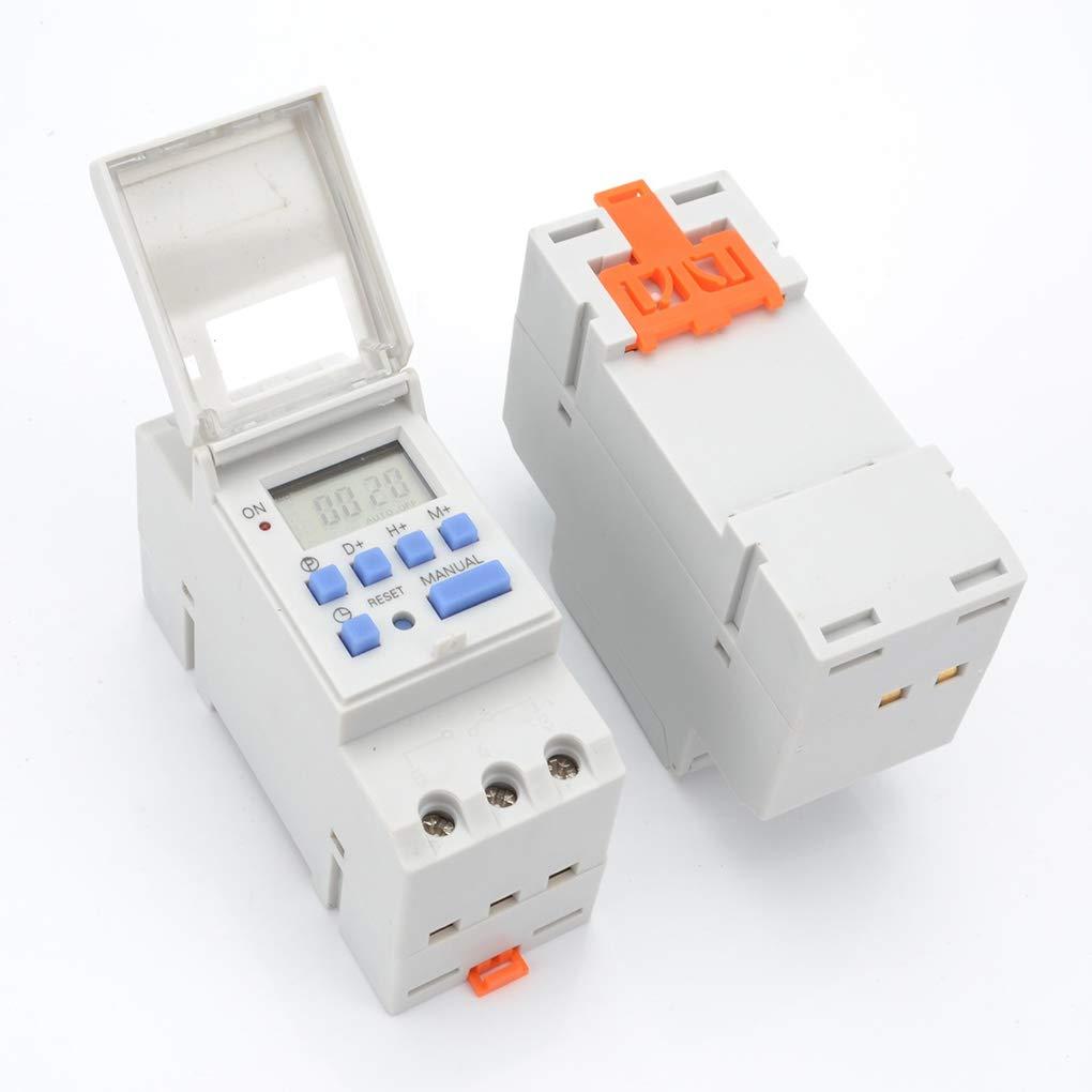 Hotaluyt 7.5VA Digital LCD Disply Power Rail de Montaje del Interruptor electr/ónico programable semanal Tiempo del Temporizador