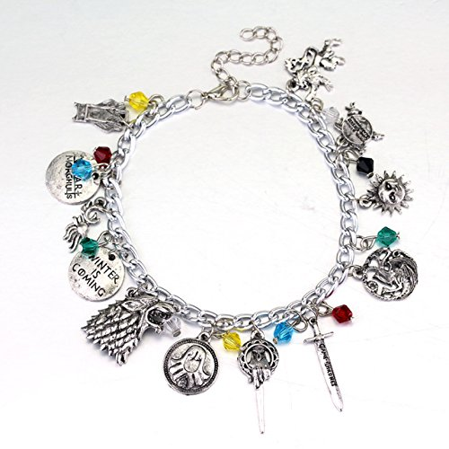 GAME OF THRONES Silvertone Assorted Themed Charm BRACELET (Of Netflix Thrones Game)