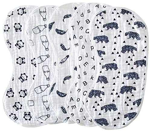 Muslin Burp Cloths Baby Burping Bibs 100% Organic Cotton 5-Pack Large 6 Layers Thick Soft Absorbent Cloth Spit Up Dribble Towels Rags for Newborns Baby Boy or Girl Unisex by ShoppeWatch BB28