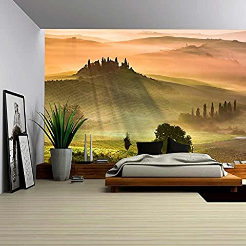 wall26 - Sunrise in Tuscany - Removable Wall Mural | Self-adhesive Large Wallpaper - 66x96 inches (Tuscany Mural)