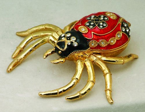 PTC Red Spider Jewel Studded Snap Closure Jewelry/Trinket Box Figurine ()