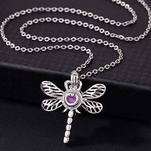 1pc Silver Plated 3D Dragonfly Pearl Beads Cage Open Locket Pendant Necklace Gifts CL3W