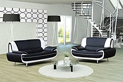 Ensemble Canape 3 2 Places Design Noir Et Blanc Muza