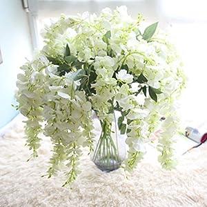 Hot Sale! Neartime Clearance Artificial Silk Wisteria Fake Garden Hanging Flower Plant Vine Wedding Decor (White) 115