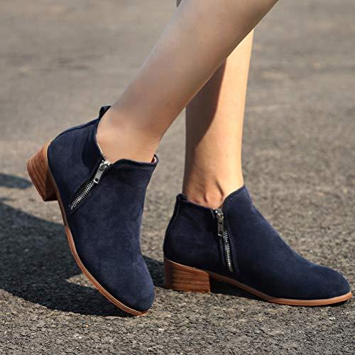 PU Minetom Elegante Moda Boots Blocco Tacco Stivaletti Donna Autunno Stivali Stivaletti Tacco Sexy Casual Invernali con Blu Chelsea rqRrzHwx7