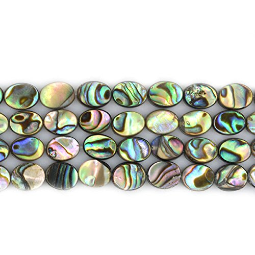 (Natural 8mm Abalone Shell Flat Oval Beads Strand 16