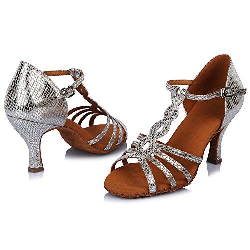 HROYL Women AF429 Leather Latin Ballroom Dance Shoes Silver iP7Gy
