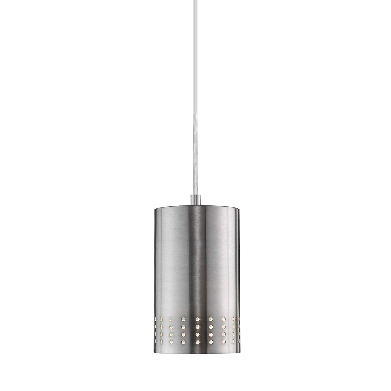 LANROS Adjustable Mini Pendant Light, Modern Hanging Lights with Perforated Cylindrical Metal Shade for Kitchen Island, Living Room, Brushed Nickel Finish, 1-Pack
