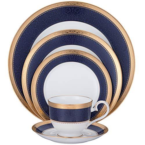 Noritake Odessa Cobalt Gold 5-Piece Place Dinnerware Setting in Blue/White