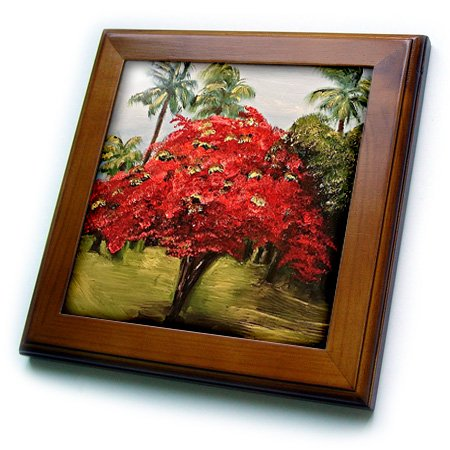 3dRose Melissa A. Torres Art Puerto Rico - Photo of a Flamboyant Tree with palms in Puerto Rico - 8x8 Framed Tile (ft_171480_1)