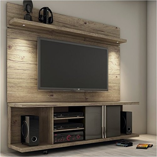 """Bowery Hill 71"""" TV Stand and Panel in Natural and Onyx"""