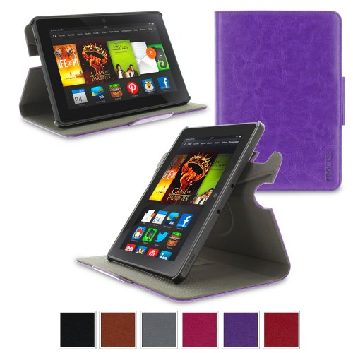 """Amazon Amiably Fire HDX 7 Case - roocase Orb System Folio 360 Dual View Leather Case Smart Cover with Sleep / Wake Have a role for Kindle HDX 7"""" (Purple) - Patented Complete Lifestyle Solution"""