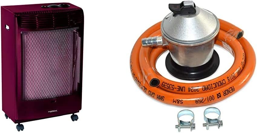 CAMPINGAZ Estufa de Gas CR 5000 Thermo Burdeos, Estufa Portátil con Ruedas + S&M 321771 Regulador de Gas Butano Goma M + 2 Abraz, Gris/Naranja, 1,5 Metros de Tubo
