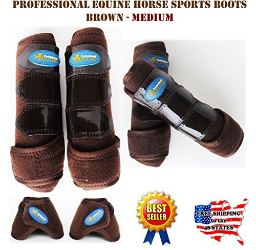 Professional Equine Horse Medium 4-Pack Sports Medicine Splint Bell Boots 4143D