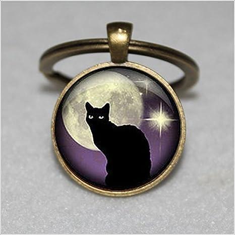 Llavero negro con diseño de gato y gato negro y morado ...
