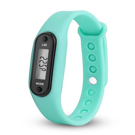 QinMM relojes Podómetro deportivos, Pulsera Actividad Pulsera Inteligente Impermeable cálculo LCD para mujer y hombre (Cielo azul): Amazon.es: Relojes