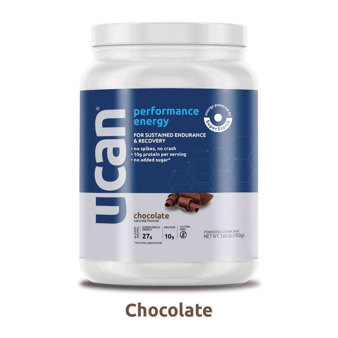 UCAN Performance Energy Plus Protein Powder with SuperStarch Gluten Free, No Added Sugar, Doesn t Spike Blood Sugar or Insulin Maximum Energy and Muscle Recovery, No Crash, Chocolate, 15 Servings