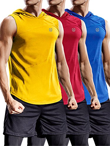 Neleus 3 Pack Workout Athletic Gym Muscle Tank Top with Hoods,5036,Blue,Red,Yellow,US L,EU XL
