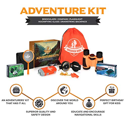Discover Kids - Outdoor Exploration and Adventure Kit - Children's Toys, Binoculars, Flashlight, Compass, Whistle, Magnifying Glass, Backpack. Designed for Children, Great STEM Gift for Kids by Discover Kids (Image #9)