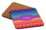 Rikki Knight Faith Name on Rainbow Scallop Design Cork Backed Hard Square Beer Coasters, 4-Inch, Brown, 2-Pack