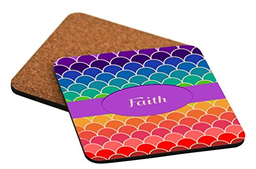 Rikki Knight Faith Name on Rainbow Scallop Design Cork Backed Hard Square Beer Coasters, 4-Inch, Brown, 2-Pack by Rikki Knight