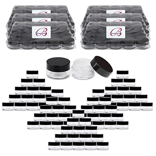 Beauticom High-Graded Quality 5 Grams/5 ML (Quantity: 2400 Packs) Thick Wall Crystal Clear Plastic LEAK-PROOF Jars Containers with Black Lids for Cosmetic, Lip Balm, Lip Gloss, Cream, Lotion, Liquid by Beauticom®