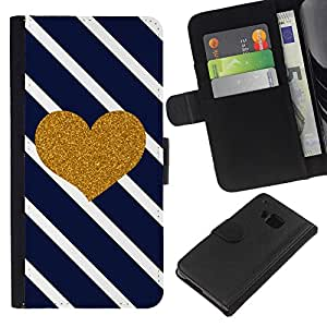 KLONGSHOP // Tirón de la caja Cartera de cuero con ranuras para tarjetas - Corazón Diagonal Negro White Stripes - HTC One M7 //