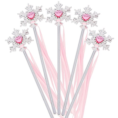 XiangGuanQianYing Princess Party Supplies Princess Wands Snowflake Wand with Ribbon Silver Plating (Silver Pink 10 Pack)
