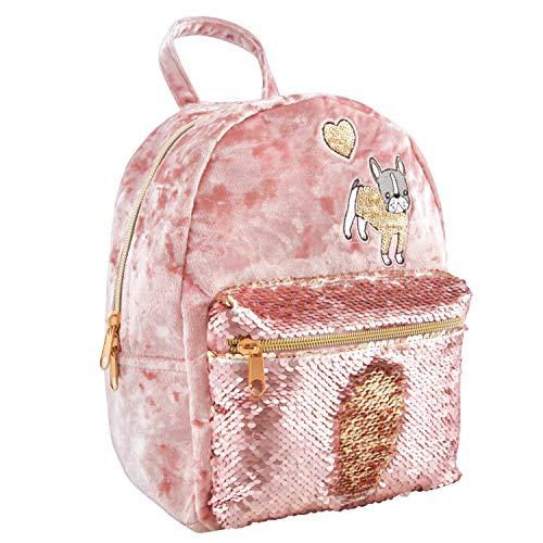 Style. Lab Crushed Velvet Sequin Pocket Mini Backpack, Purple (Rack Mini Luggage)
