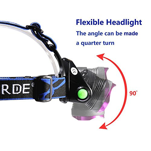 Headlamp,GRDE Rechargeable Led Headlamp Headlight Flashlight 3 Modes with Adjustable Thick Head Strap for Camping Hiking Fishing BBQ Repairing Night Walking Morning Running(Purple) by GRDE (Image #2)