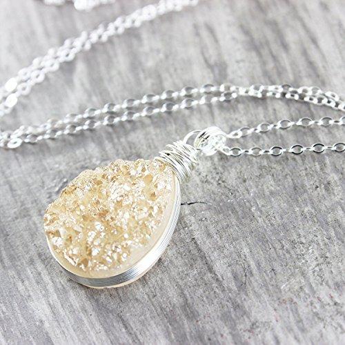 Champagne Quartz Pendant - Champagne Teardrop Druzy Sterling Silver Necklace - 18
