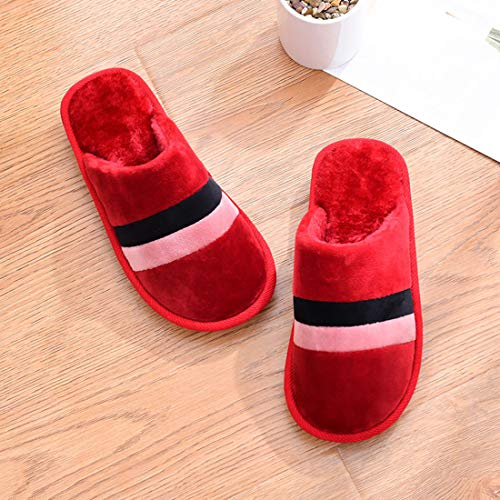 Lining House Shoes Slipper Toe for Short Indoor Closed Plush Outdoor Red Striped HUAIDE 8xwO0Yw
