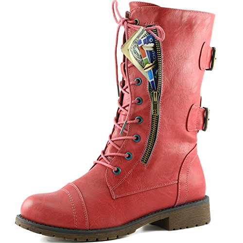 DailyShoes Women's Military Lace Up Buck - Red Lace Up Boots Shopping Results