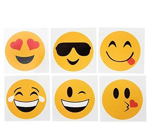 Emoji Temporary Tattoos, SYZ Smile Emotion Face Expression Stickers Heart Emoji Inspired Kids Party Favor Fillers 2 Inches (144 PCS) Fun for Birthday Parties, Prizes,Decorations and Classroom (Decoration Of Class Rooms)