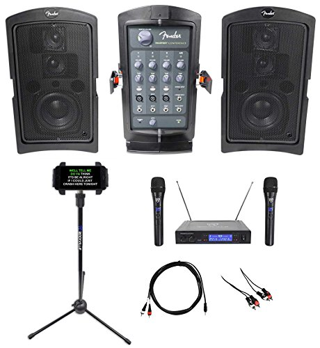 Fender Portable Karaoke Machine System+(2) Wireless Mics+Smartphone/Tablet Stand (Fender Tabs)