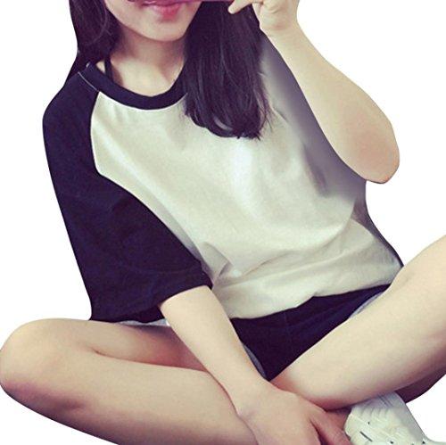 花千束 ボーダー 丸首 Tシャツ レディース 半袖 ゆったり トップス 可愛い 韓国風 スポーツ ダンス用 お揃い ブラウス カットソー 人気 6色 M-2XL