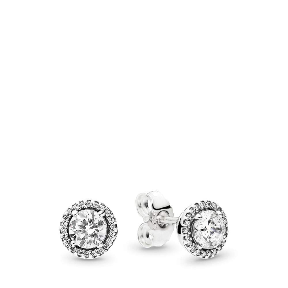 PANDORA Classic Elegance Stud Earrings, Sterling Silver, Clear Cubic Zirconia, One Size by PANDORA