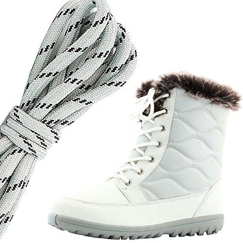 Daily Shoe Mujeres Cómodo Toe Toe Flat Flat High Eskimo Winter Fur Botas De Nieve, Gris Negro Marfil Pu