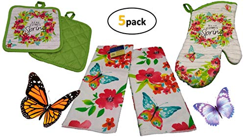 Butterfly Decor - Kitchen Linen Set (5 Pc) Celebrate Spring Flowers and the Butterflies Season - Green Sets Include 2 Matching Kitchen Towels 2 Potholders 1 Oven Mitt - Oven Mitts - Potholders - Kitch
