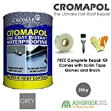 Cromapol   Acrylic Roof Coat   Waterproofing Roof Sealant   Three Sizes   Four Colours   FREE Complete Repair Kit   Grey 20 Kg