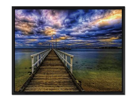 Lighted Pier - Art Print Wall Art Canvas stretched With Blac