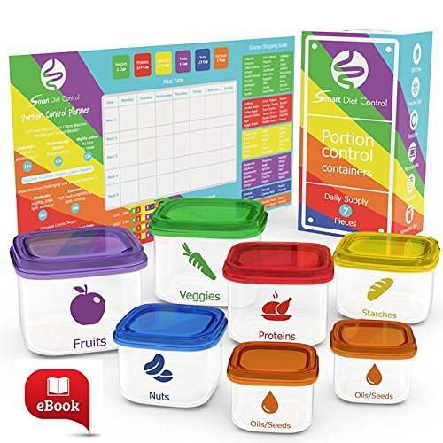 Smart Diet Control 7-Piece Leak-Proof Microwave and Dishwasher Safe Portion Control Container Kit with Meal Planner Complete Guide and eBook, Multi-color Lids by Smart Diet Control