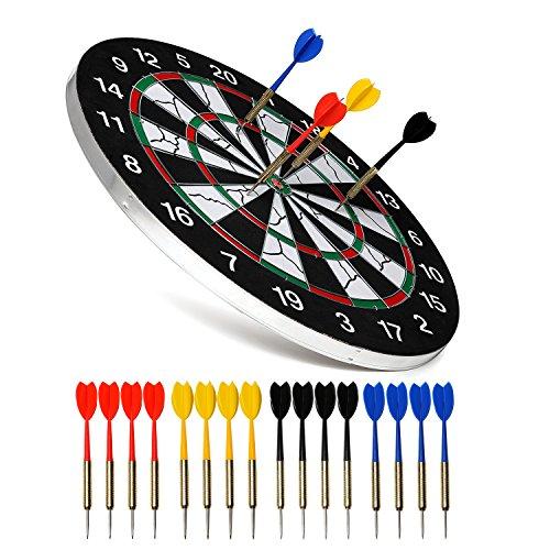 NKTM Dart Board Double-sided Dartboard with 16 ...