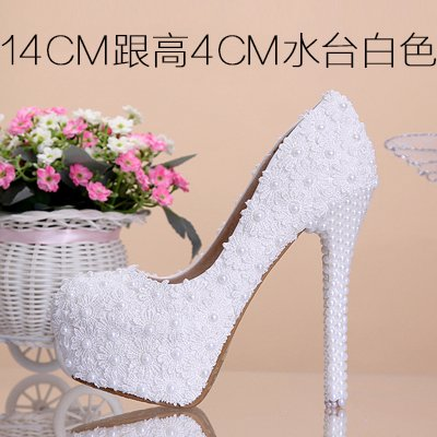 4 Sandals VIVIOO Round Shoes Lace Heeled Shoes 14Cm Prom Shoes Red Pearl Wedding White Color Flowers Heel Toe High Waterproof Bridal Pink Women'S 5qrABqHf