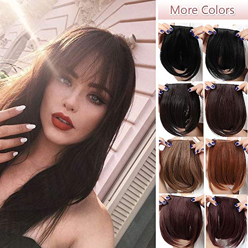 Fashion Clip In Bangs Extensions Front Full Neat Bangs Fringe 2 Clips One Piece Thick Straight Hairpiece Accessories Synthetic Hairpiece For Women (8 inches,dark brown)